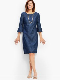 The Daily Hunt: Embroidered Jacket and More - Denim Shift Dress with Bell Sleeves Source by - Types Of Dresses, Nice Dresses, Casual Dresses, Summer Dresses, Denim Dresses, Shift Dress Outfit, Dress Outfits, Denim Dress Outfit Summer, Shift Dresses