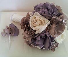 Wedding Bouquet and Buttonhole Silk Dusky Pink and Purple Cream Fabric Flowers | eBay