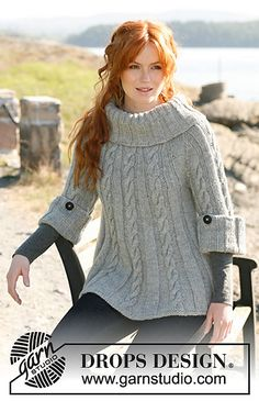 Ravelry: 131-1 Jackie - Jumper or tunic with cables, ¾ sleeves, and large, wide collar in Nepal pattern by DROPS design