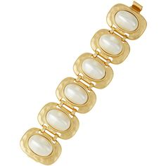 Kenneth Jay Lane Golden Pearly Link Bracelet ($102) ❤ liked on Polyvore featuring jewelry, bracelets, pearl, pearl bangle, pearl bracelet, golden bangles, cabochon jewelry and bracelet bangle