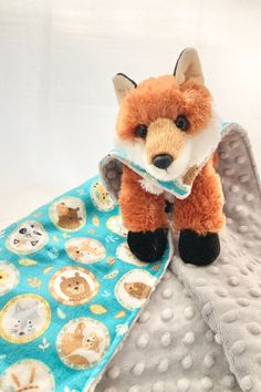 """One-of-a-kind lovey with stuffed fox and his very own minky and flannel """"cape""""  Let this be your new superhero to help calm your little one  Great new baby gift that easily transitions to toddler toy! Flannel Blanket, Lovey Blanket, Toddler Blanket, Toddler Boy Gifts, Baby Boy Gifts, Toddler Toys, Baby Christmas Gifts, Baby Lovey, Security Blanket"""