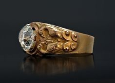 Russian Medieval Style Men's Gold Ring  | From a unique collection of vintage solitaire rings at https://www.1stdibs.com/jewelry/rings/solitaire-rings/