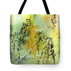 "#Abstract #Green and #Yellow  #Tote #Bag (18"" x 18"") by #Unique #Fine #Art #Artist #GinetteCallaway #Ginette #Callaway. The tote bag is machine washable, available in three different sizes, and includes a black strap for easy carrying on your shoulder.  All totes are available for worldwide shipping and include a money-back guarantee."