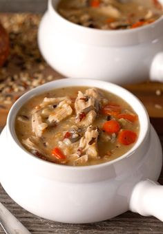 Chicken And Bacon Wild Rice Soup Recipe ~ A delicious Chicken Wild Rice Soup with Center Cut Bacon! Scrumptious and creamy - no dairy used