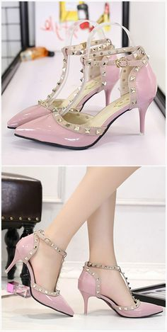 The pumps feature pointed toe, hollow out, stiletto heels, rivet and buckle strap closure. Shoe Boots, Shoes Heels, Pumps, Hipster Shoes, Jeweled Shoes, Cinderella Shoes, Valentino Shoes, Pink Shoes, Shoe Dazzle