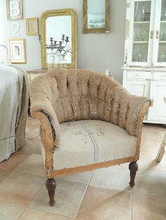 Grainsacks chair. I like either very ornate styles, very plain materials, or a combination of both.