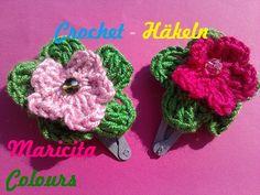 Crochet Tutorial Ganchitos con Flores -  Hair Clip por Maricita Colours