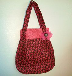 Adorable Double Strap Shoulder Bag with  pink and brown fabric and inside pocket. $25.00, via Etsy.