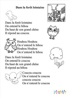 in-the-drill distant - animals Web Animal, Great Song Lyrics, French Songs, Teachers Aide, Petite Section, Reading Worksheets, Forest School, Circle Time, French Lessons