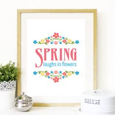 Cherry & Cherry PRINTS - Spring laughs in flowers Cod produs: Cherry Cherry, Framed Quotes, Spring Flowers, Teaser, Cod, Posters, Graphic Design, Prints, Cod Fish