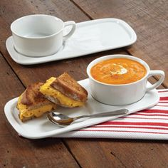 CHEFS Soup & Sandwich Set  Serve soup and a sandwich single-handedly with this durable porcelain soup bowl and sandwich plate set. $35 for 2 sets