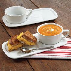 CHEFS Soup & Sandwich Set  Serve soup and a sandwich single-handedly with this durable porcelain soup bowl and sandwich plate set. Set of 2, $34.95