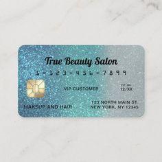 Unique Sparkly Cerulean Blue Glitter Credit Card Makeup Business Cards, Referral Cards, Cerulean, Promote Your Business, Blue Glitter, Business Design, Paper Texture, Custom Design, Unique