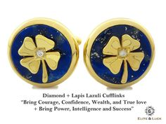 "Diamond + Lapis Lazuli Sterling Silver Cufflinks, 18K Yellow Gold plated, Lucky Model ""Bring Courage, Confidence, Wealth, and True love + Bring Power, Intelligence and Success"" *** Combine 2 Gemstone Powers to double your LUCK ***"