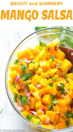 Mango Salsa - vibrant, fresh and easy salsa made only with It has the perfect balance of sweetness and spiciness that goes well with favorite chips, grilled fish or pork or even as a snack on its own. The only salsa you want for summer! Mango Salsa Recipes, Fruit Salad Recipes, Mexican Food Recipes, Appetizer Recipes, Vegetarian Recipes, Cooking Recipes, Healthy Recipes, Ethnic Recipes, Appetizers