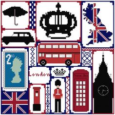 Cross stitch pattern London British sampler £8.40 by CraftwithCartwright