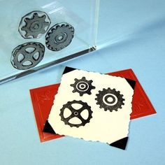Cogs Clear Polymer Rubber Stamp MiniSet Gears by BlueDiamondStamps, $8.00