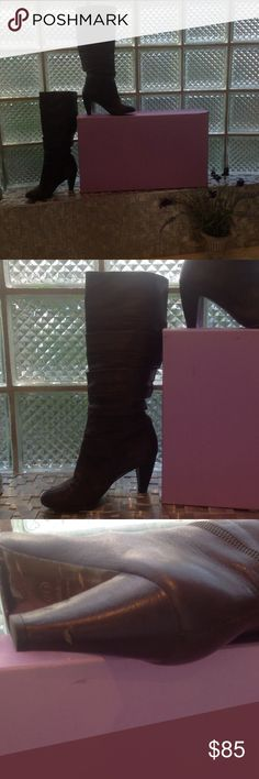 Very Sexy Botkier Slouch Boots Horizontal Chain action very nice detail. Still excellent condition gently loved. There is a nick in one heel and I posted pictures of that and the bottoms. Comes in original box with dust bag and new heel taps when needed but still plenty of  tread left today. In frequently worn.  Gorgeous dark brown reddish tint soft luxurious leather. These boots are a real deal. botika Shoes Winter & Rain Boots