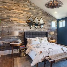 Stikwood (worlds only peel and stick REAL Barnboard) rocking out this bedroom. We carry all their designs but love the reclaimed series. What do you think? #reclaimed #reclaimedwood #stikwood#interiordesign #yyc #yyj #yvr #yeg