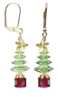 Christmas Tree Earrings with Swarovski Crystal Beads and Gold-Plated Brass Bead Caps by Jamie Smedley. #crystal #earrings #christmasjewelry