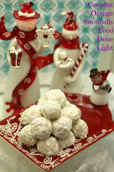 The Best Christmas Cookies, lightened up - Healthy, low calorie and fat Dessert - Coconut Orange Snowballs www.fooddonelight.com