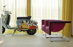 Entrance lobby of the Dublin offices of Publicis, with painted Vespa scooter pink Nube armchair from STUA. (See more)STUA Design Etc Upholstered Arm Chair, Minimalist Design, Art Blog, Contemporary Art, Upholstery, Furniture Design, Design Inspiration, House Design, Colours