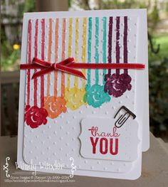 Stampin' Up! ... hand crafted card from Wickedly Wonderful Creations: Stamp Review Crew - Painted Petals ... bright inks lines ending in flowers ... rainbow order with new colors ... like it!