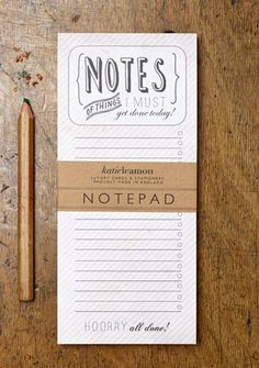 Katie Leamon notepad - Stripe | Mooi to-do blok voor op je werktafel of keukentafel.