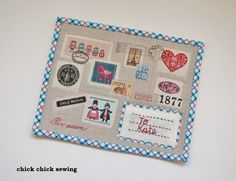 chick chick sewing: Airmail Mug Rug from Zakka Handmades Book ♪