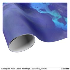 Ink Liquid Paint Urban Amethyst Purple Navy Blue Wrapping Paper