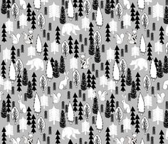 Woodland Christmas Trees  - Slate by Andrea Lauren fabric by andrea_lauren on Spoonflower - custom fabric