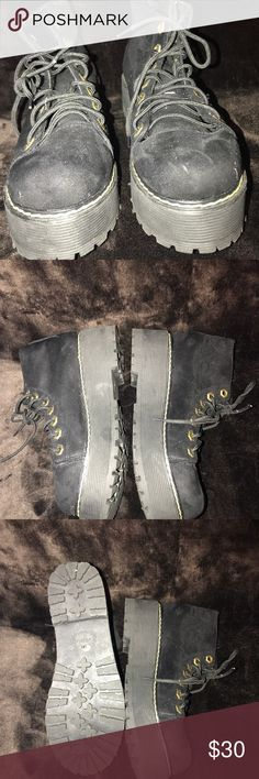 Black suede combat creeper boots Soft inside the shoe & was only worn once Shoes Platforms
