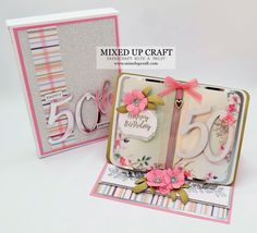 Beautiful Bookatrix Style Easel Cards – MIXED UP CRAFT Mom Birthday Crafts, 80th Birthday Gifts, Birthday Gift Baskets, Birthday Cards, Candy Bar Posters, Birthday Card Design, Anna Griffin Cards, Fancy Fold Cards, Folded Cards