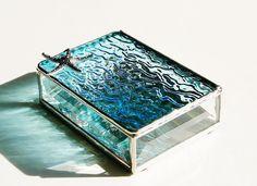 Stained Glass Ring Box Aquamarine Sky Blue 3x4 w/ by GaleazGlass, $30.00