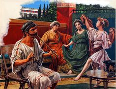 Music and Dance in Ancient Athens (Original) art by Roger Payne