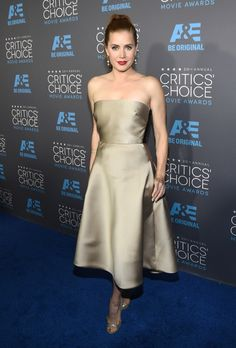 Amy Adams shined in a gold Max Mara dress