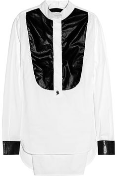 Blanca PVC-front cotton-poplin shirt by Karl Lagerfeld | Apprl - Social Shopping