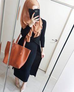 Black long pencil skirt and open cardigan, light tan hijab with tan bag - check out: Esma <3