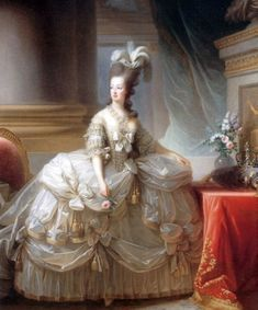 Archduchess Marie Antoinette, Queen of France, Marie Louise Elisabeth Vigée-Lebrun; this painting was sent to Vienna, to Marie Antoinette's family, in (Kunsthistorisches Museum Vienna) French History, Art History, Marie Antoinette, Versailles, Rose Bertin, Kunsthistorisches Museum Wien, Rococo Fashion, Court Dresses, Women's Dresses