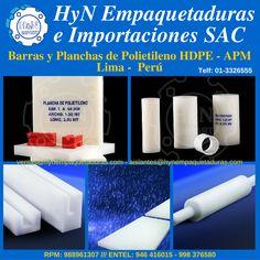 Barras y Planchas de Polietilino HDPE de alta densidad. Lima, Perú. Para más información:  HyN Empaquetaduras e Importaciones SAC  Av. Ramón Cárcamo 547, Cercado de Lima  RPM 988961307 – *370414 (whatsapp)  Entel 946416015 – 998376580 (whatsapp)  Fijo: 3326555  ventas@hynempaquetaduras.com  aislantes@hynempaquetaduras.com