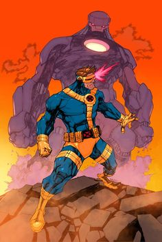 Cyclops vs The Sentinel colors by King Bola. from Mike Bowden Comic Art illustration style reference Marvel Comic Universe, Marvel Comics Art, Marvel X, Marvel Heroes, Comic Book Artists, Comic Books Art, Comic Art, Marvel And Dc Characters, Comic Layout