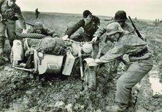 WWII, German BMW R75 sidecar motorbike.