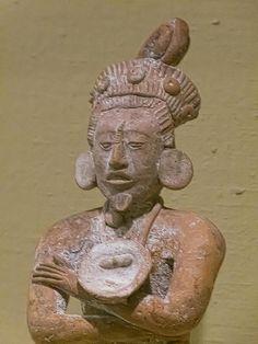 Closeup of Seated Male Figure Maya 600-900 CE Ceramic