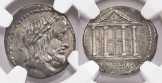 Ancient Coins - M VOLTEIUS SILVER AR DENARIUS WITH THE FACADE OF ROME'S CAPITOLINE TEMPLE - CHOICE AU NGC GRADED ROMAN REPUBLICAN COIN (Inv. 9208)