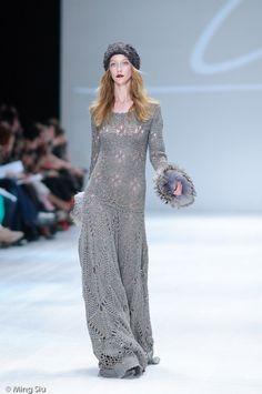 Crochet and knit long gray dress with furry cuffs and matching hat. Fall/Winter 2011 LINE Knitwear. Photo by Ming Siu.