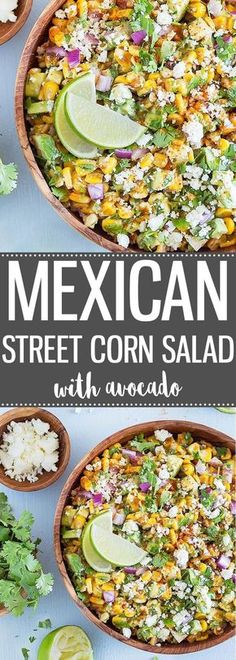 Mexican Street Corn Salad with Avocado is always a crowd-pleaser! It's fast … Mexican Street Corn Salad with Avocado is always a crowd-pleaser! It's fast and easy to prepare, and has a tasty balance of fresh flavors and textures. Vegetarian Recipes, Cooking Recipes, Healthy Recipes, Mexican Salad Recipes, Mexican Pie, Recipes With Avocado, Mexican Potluck, Mexican Appetizers Easy, Mexican Salads