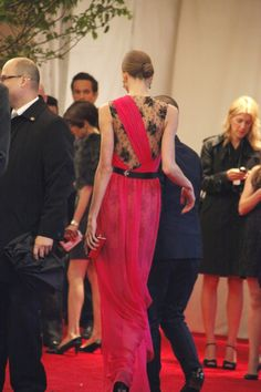 Karlie Kloss on the red carpet at the Met Gala in a sheer-all-over but still covered up gown. Photo by Erin Yamagata.