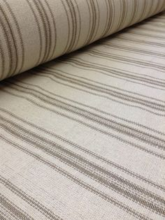 Grain Sack Fabric By The Yard - Farmhouse Fabric - Cream Fabric - Tan 12 Stripe - Wide - Upholstery Weight Farmhouse Upholstery Fabric, Farmhouse Fabric, Ticking Fabric, Farmhouse Decor, Bedroom Curtains With Blinds, Cute Curtains, Hanging Curtains, Voile Curtains, Valance