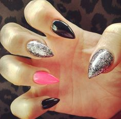 Pink black and glitter stilettos! #nails #stilettonails