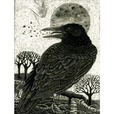 Art Card Raven's Song from Scraperboard original design ($2.89) ❤ liked on Polyvore featuring home, home decor and stationery